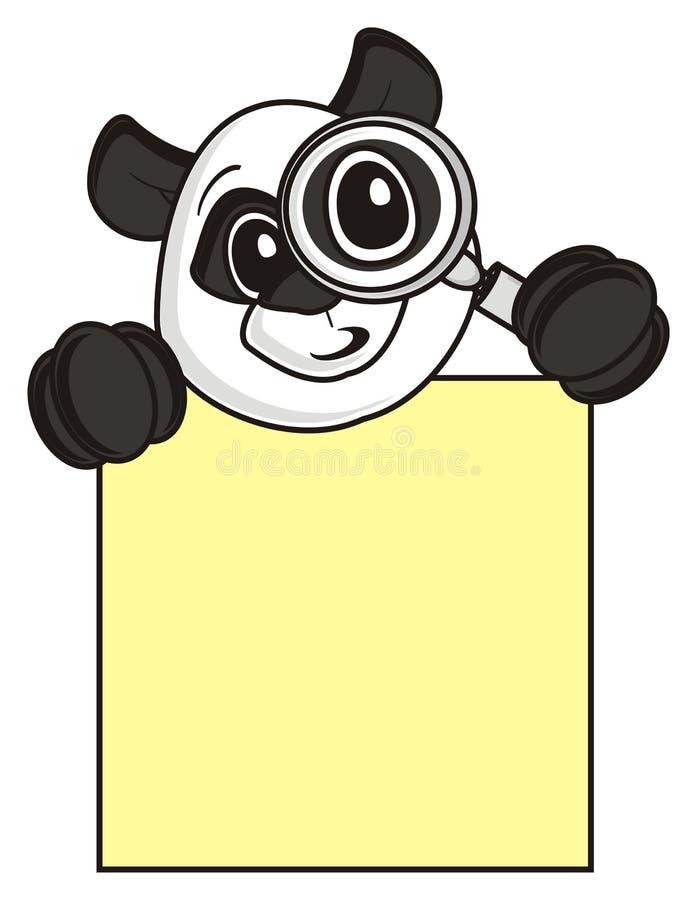 Panda tenant une loupe et un plat vide illustration stock