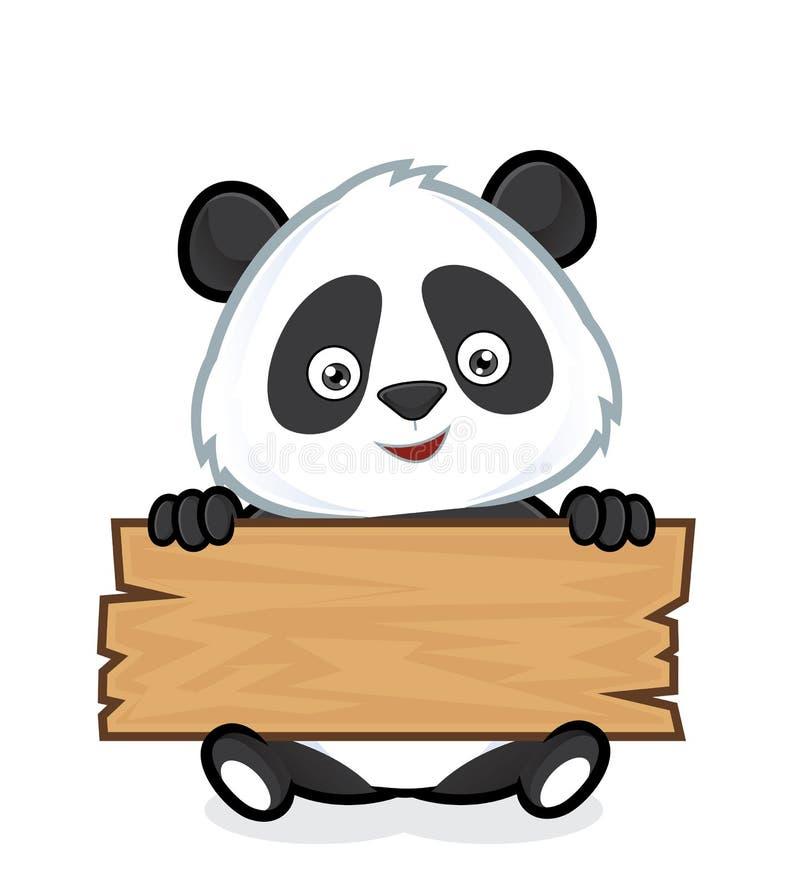 Panda tenant une planche de bois illustration de vecteur