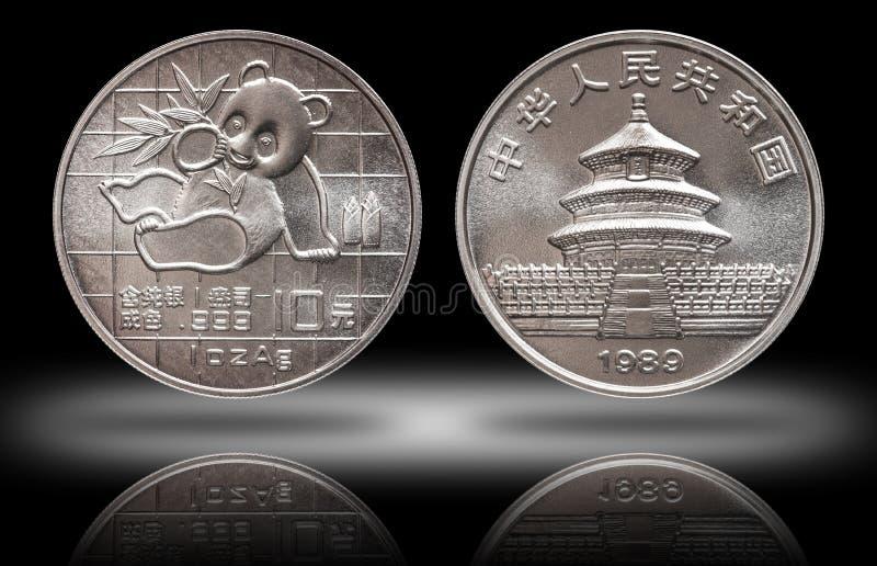 Panda 10 tien yuans zilveren muntstuk 1 oz 999 van China fijn zilveren ons minted 1989 stock foto's