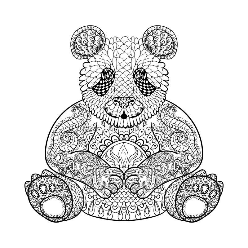 Panda tribale disegnato a mano, totem animale per la pagina adulta di coloritura illustrazione di stock