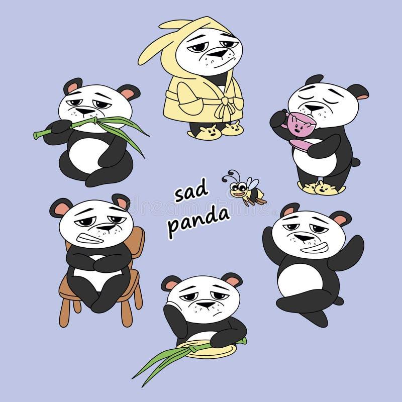 Panda triste ilustração stock