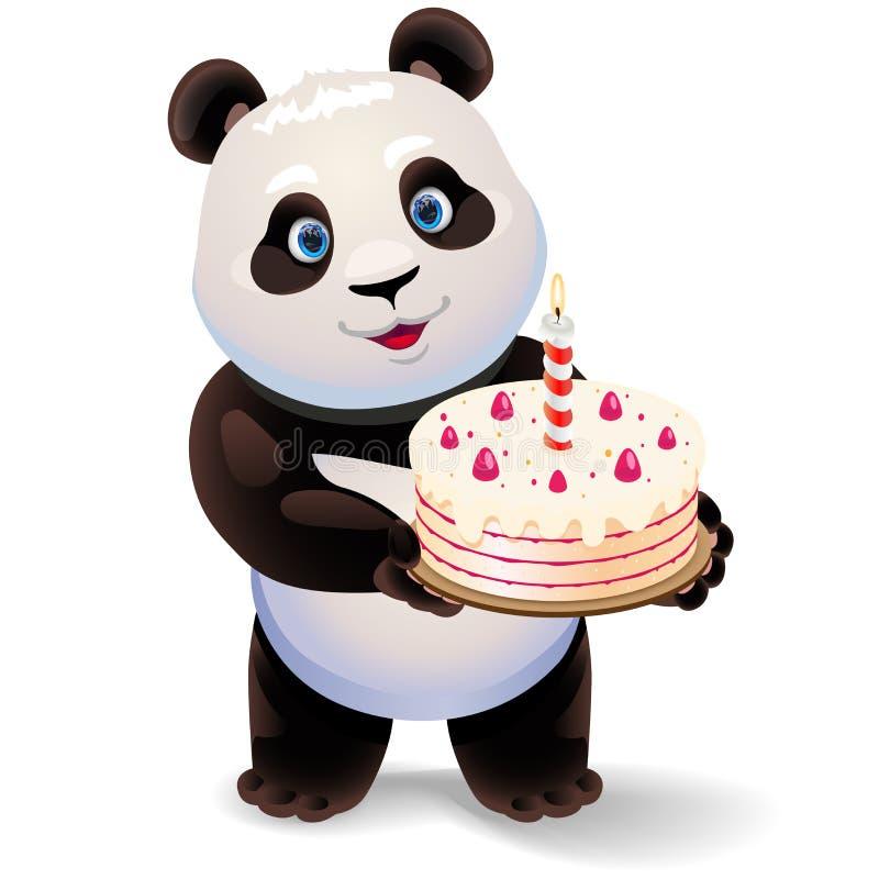 Panda trzyma urodzinowego tort Wektorowa klamerki sztuki ilustracja z prostymi gradientami ilustracja wektor