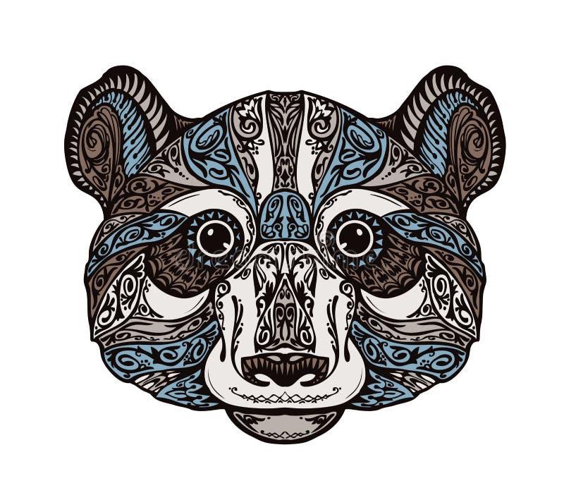 Panda u oso adornada étnica Ejemplo dibujado mano del vector con los elementos florales stock de ilustración