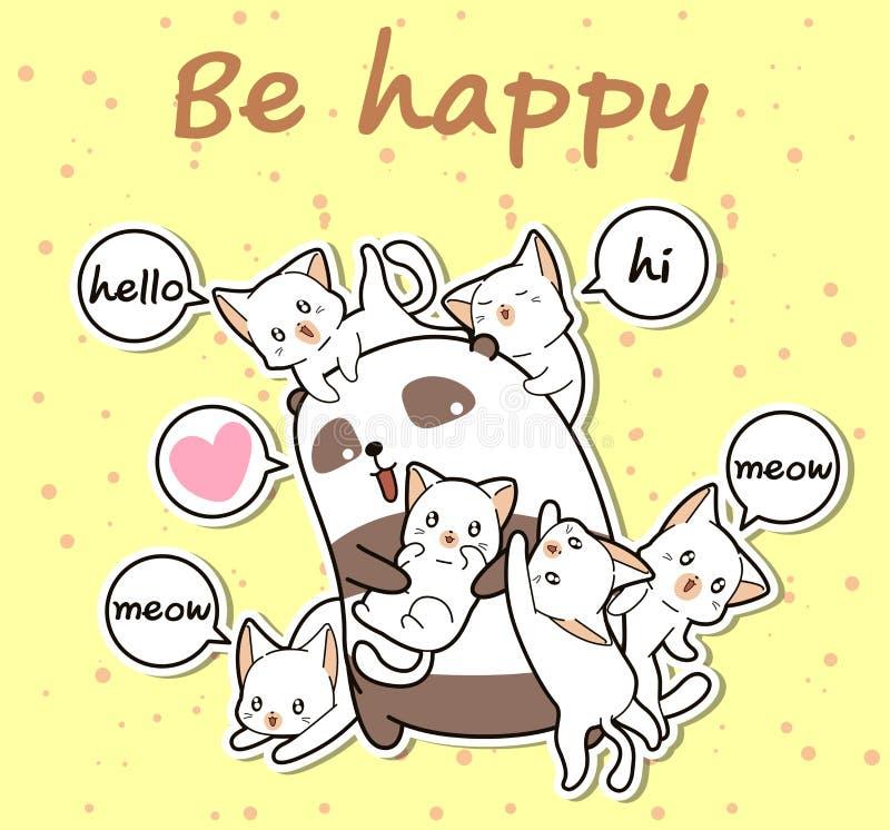 Panda und Freunde Kawaii in der Karikaturart stock abbildung