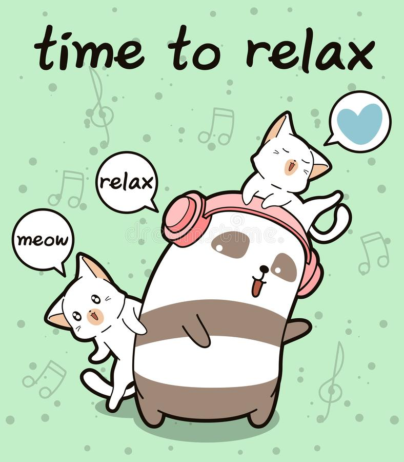 Panda und Katzen Kawaii entspannen sich vektor abbildung