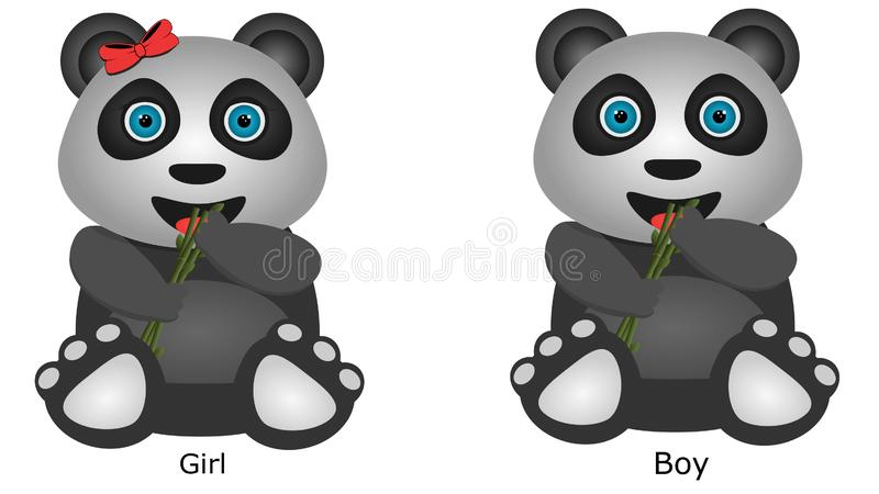 Panda Vector och illustration, pojkend en flicka arkivbilder
