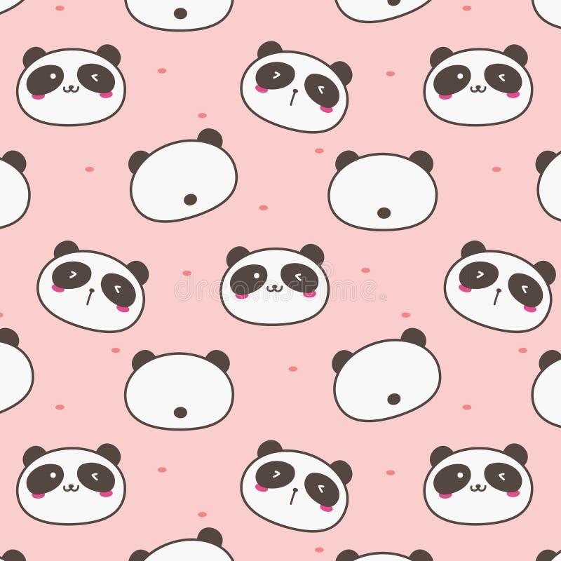Panda Vector Pattern Background mignon Griffonnage d'amusement illustration libre de droits