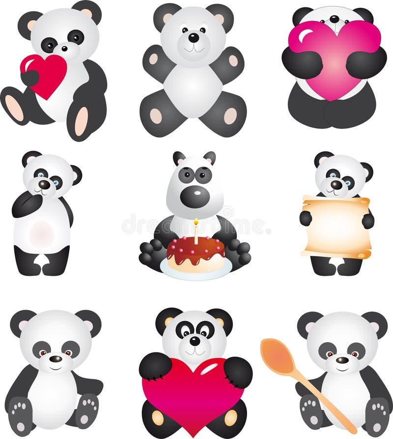 Panda. Vektoransammlung vektor abbildung