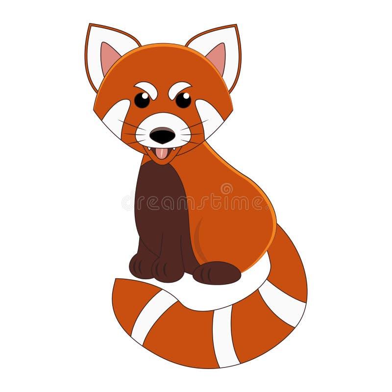 Panda vermelha dos desenhos animados bonitos Animal exótico Ilustração do vetor Isolado no branco ilustração do vetor