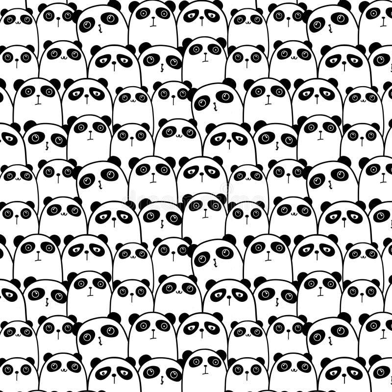 Panda Vetora Pattern Background bonito ilustração stock