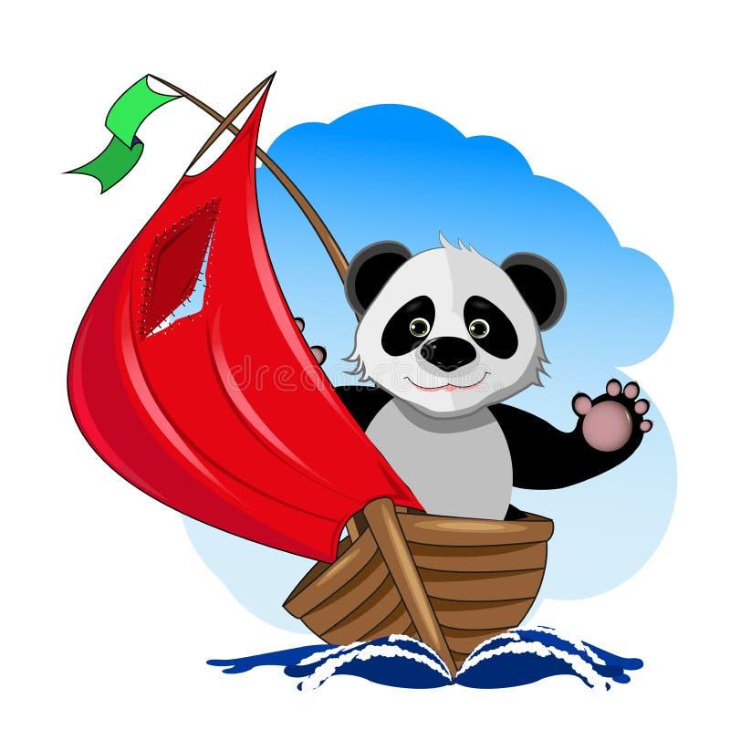 Panda w łodzi ilustracja wektor