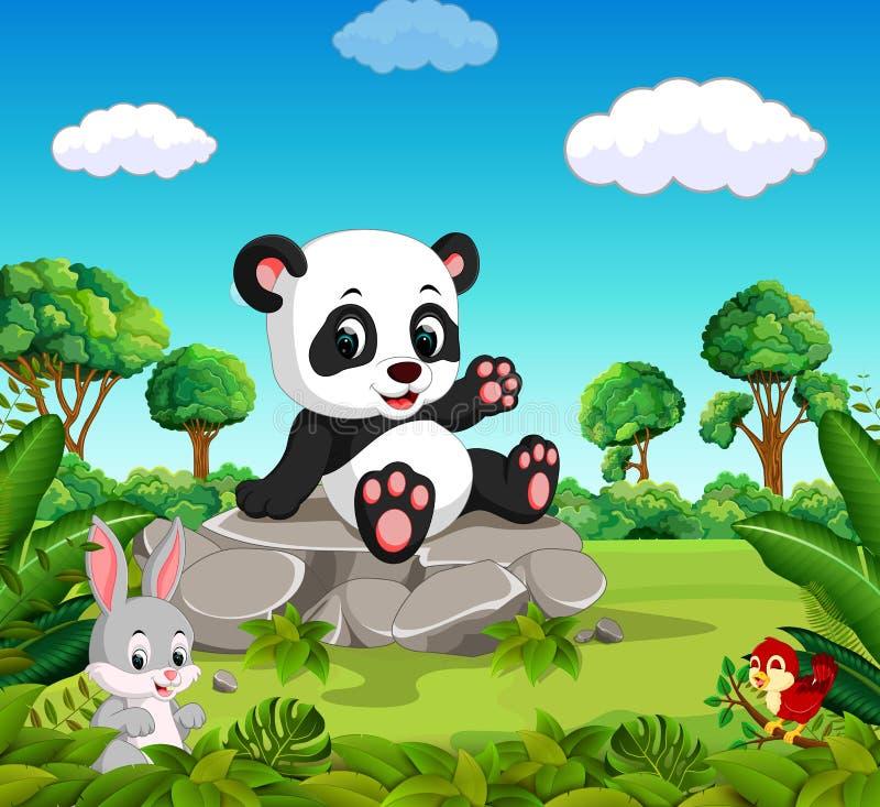 Panda w lesie ilustracja wektor
