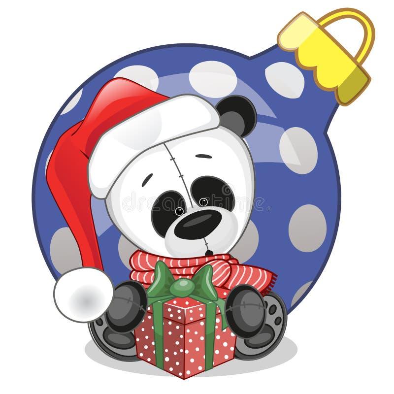 Panda w Santa kapeluszu royalty ilustracja