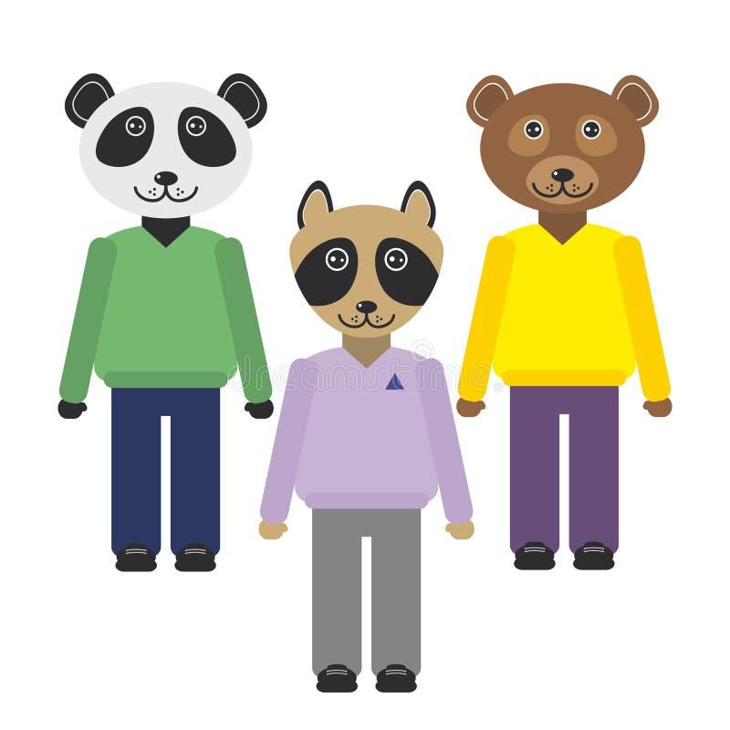 Panda, Waschbär, Bärntiere stellte in modische flache Art ein Zoo infographics Design Vektor vektor abbildung