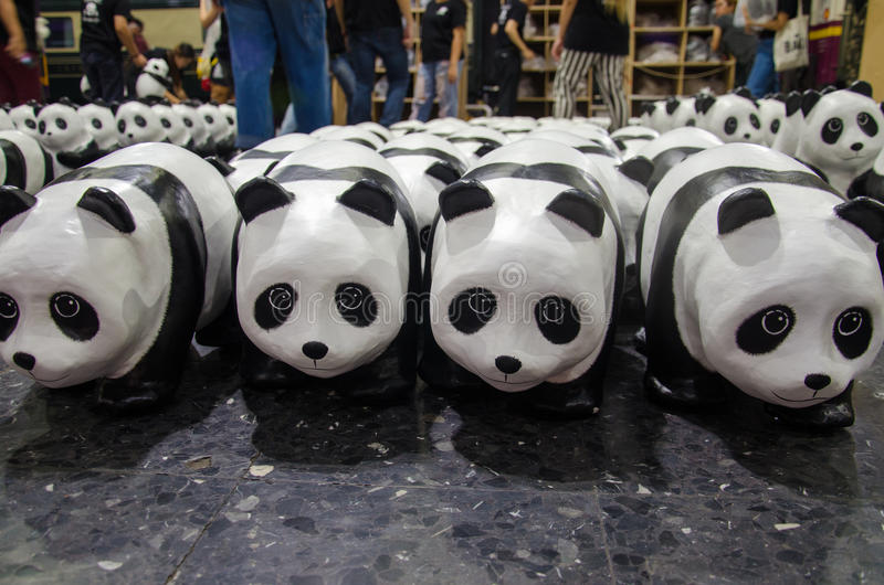 1600 Panda-Welttournee in Thailand durch WWF an Bahnhof ( Bangkoks; Hua Lamphong station) lizenzfreie stockfotografie