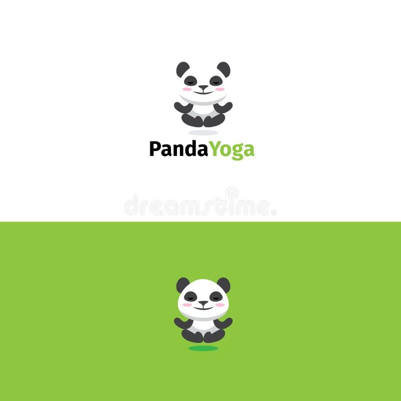 Panda yoga logo. Meditating bear mascot. Panda yoga logo. Meditating panda bear mascot royalty free illustration