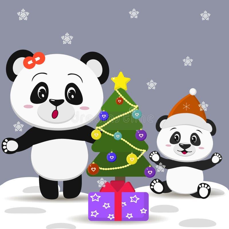 Panda z łęku i pandy dzieciakiem w Santa nakrywa blisko nowego roku ` s pudełka z prezentem i drzewa ilustracja wektor