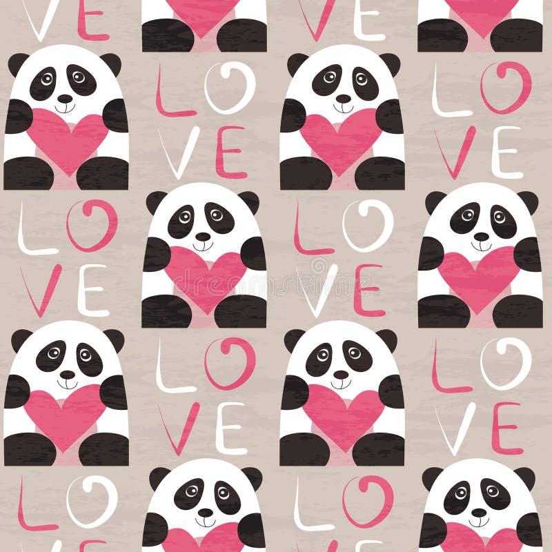 Panda z kierowym bezszwowym wzorem ilustracji