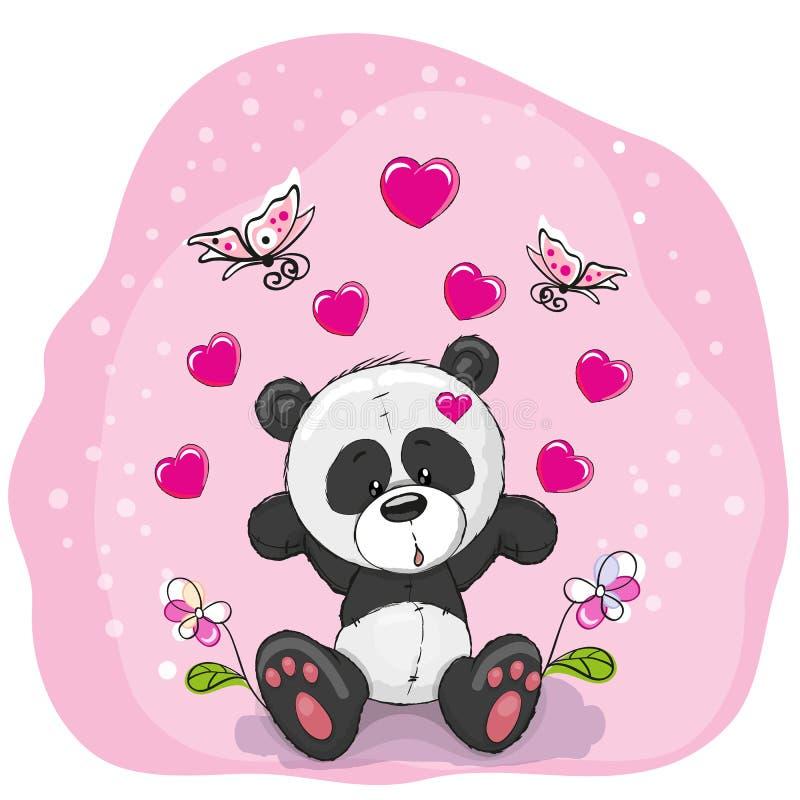 Panda z kwiatami royalty ilustracja
