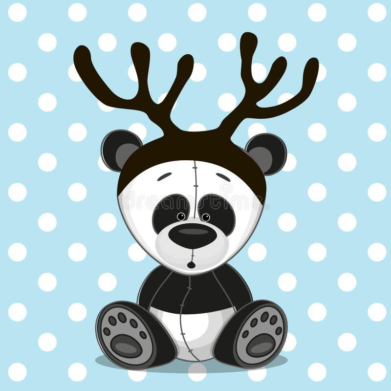 Panda z poroże ilustracja wektor