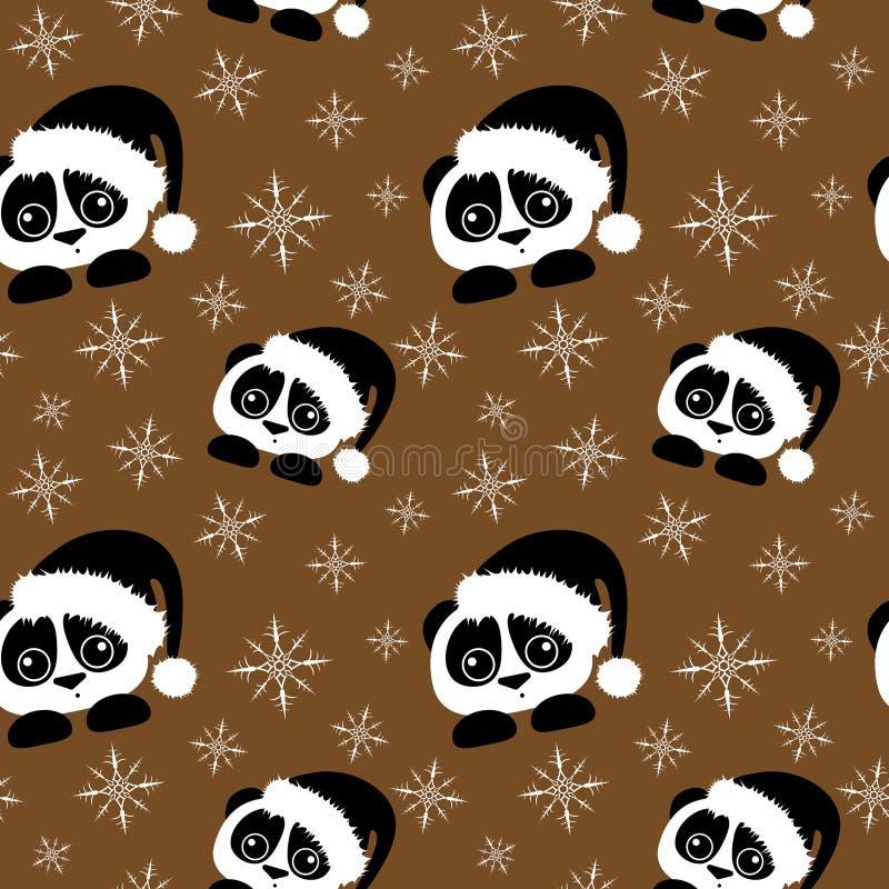 Panda z Santa nakrętki bezszwowym wzorem z płatek śniegu na brązu tle royalty ilustracja