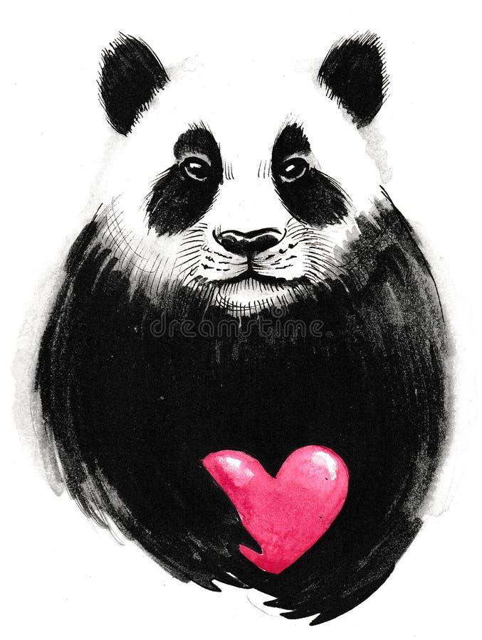 Panda z sercem royalty ilustracja