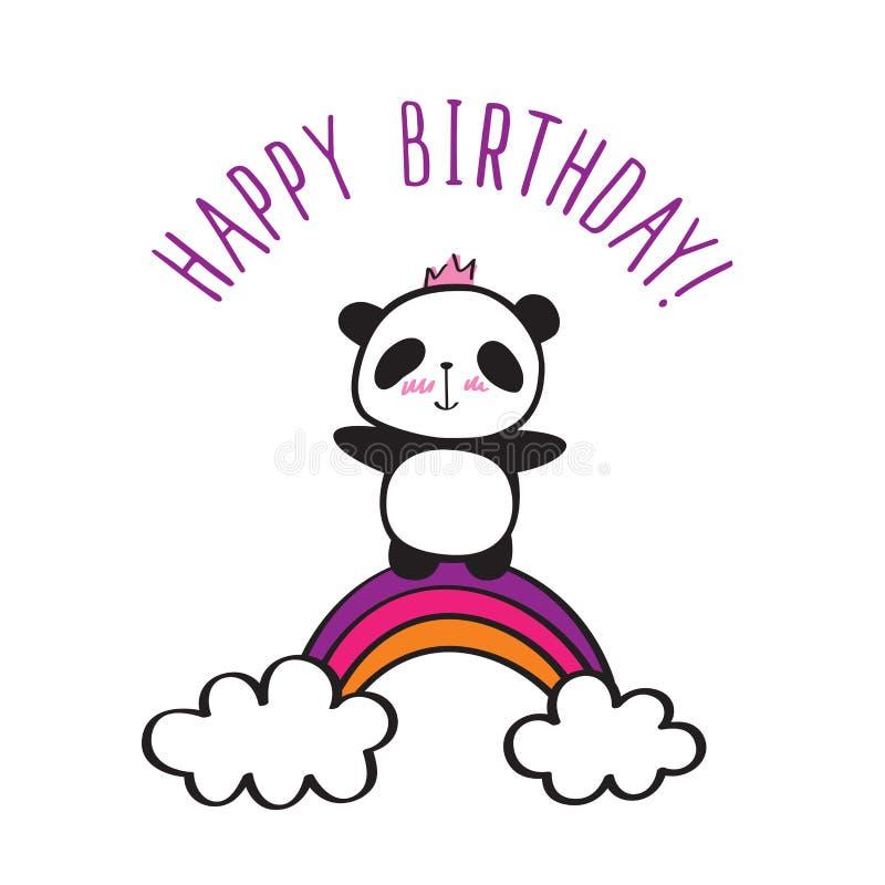 Panda z tęczą royalty ilustracja