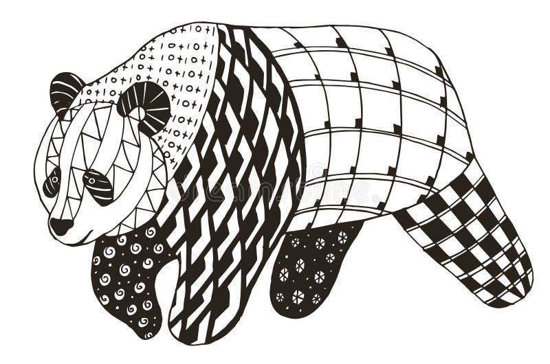 Panda zentangle τυποποιημένη, διανυσματικός, απεικόνιση, ελεύθερο μολύβι ελεύθερη απεικόνιση δικαιώματος