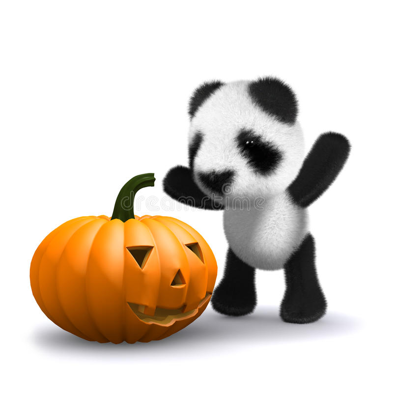 Pandabär Des Babys 3d Findet Einen Halloween-Kürbis Stock Abbildung ...