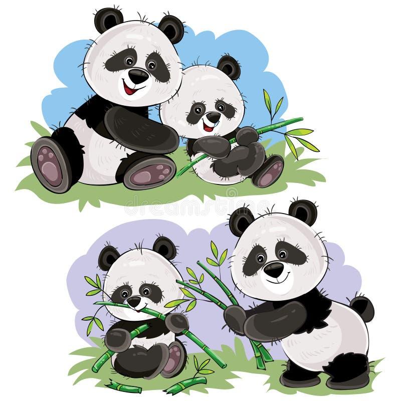 Pandabärn-Charaktervektor-Karikaturillustration lizenzfreie abbildung