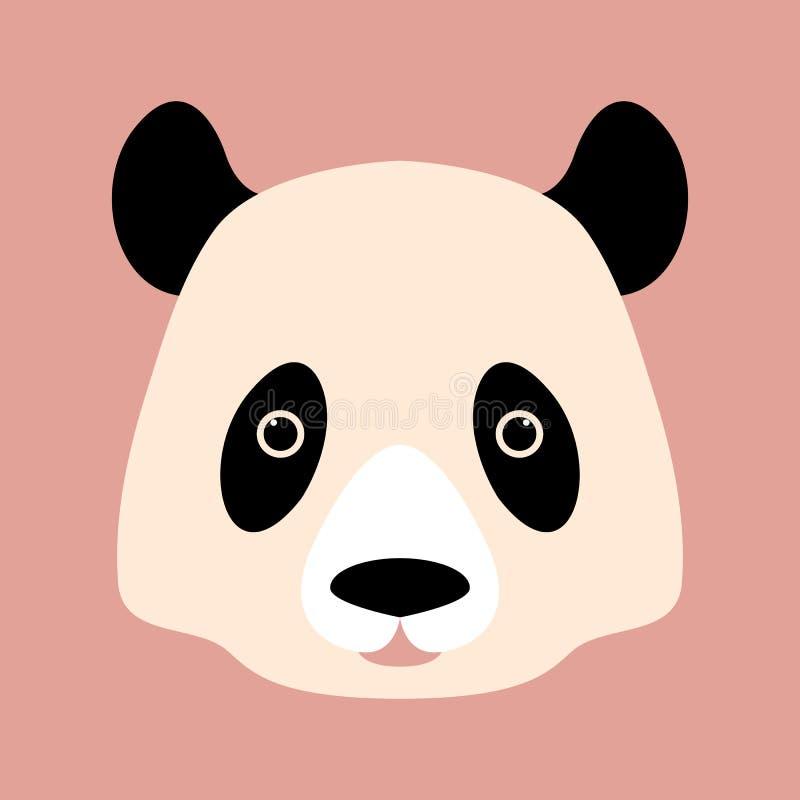Pandabärn-Gesichtsvektor-Illustrationsart flach vektor abbildung