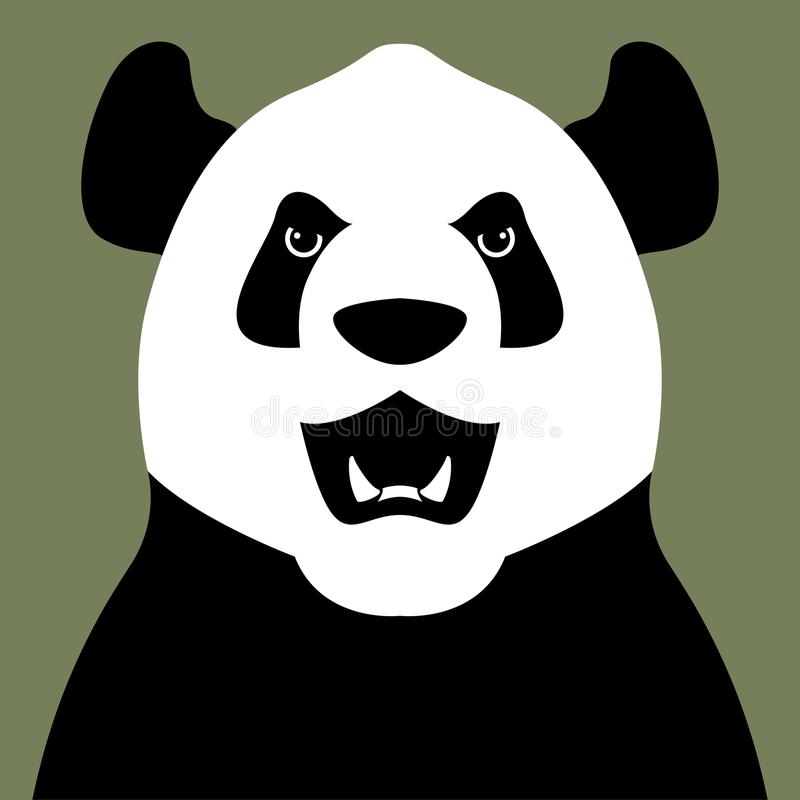 Pandabärn-Kopfgesichts-Vektorillustration flach stock abbildung