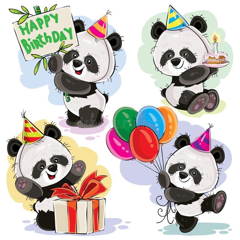 Pandabärnbaby feiert Geburtstagskarikatur vektor abbildung