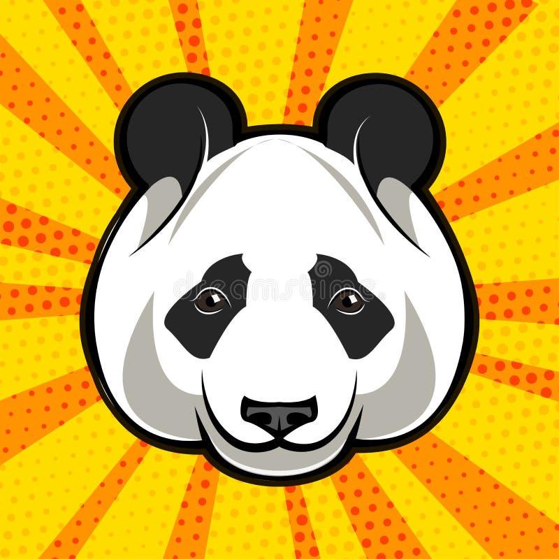 Pandabärngesicht Pop-Arten-Art Auch im corel abgehobenen Betrag lizenzfreie abbildung