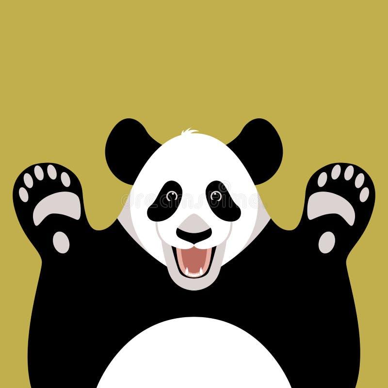 Pandabärngesicht, Vektorillustration, flache Art, Front lizenzfreie abbildung