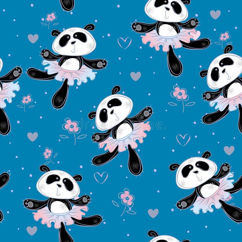 Pandaballerinen tanzen Nahtloses Muster Druckgewebe für Kinder Vektor lizenzfreie abbildung