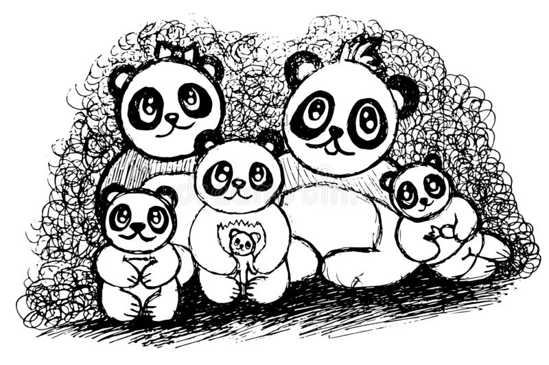 Pandafamilie, fünf Pandas, die Seite färben lizenzfreie abbildung