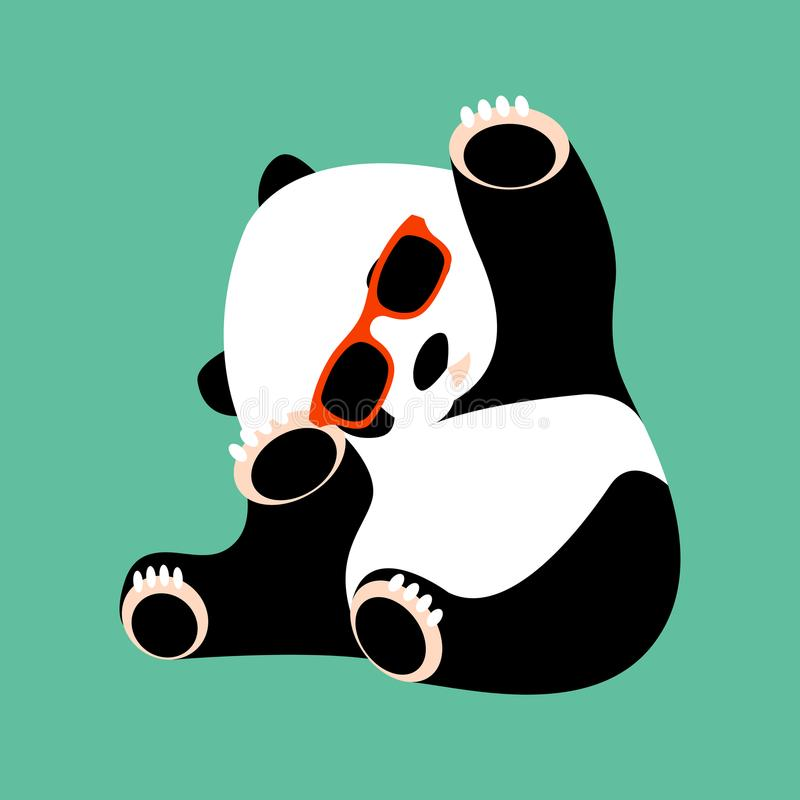 Pandaframsida i lägenhet för stil för exponeringsglasvektorillustration stock illustrationer