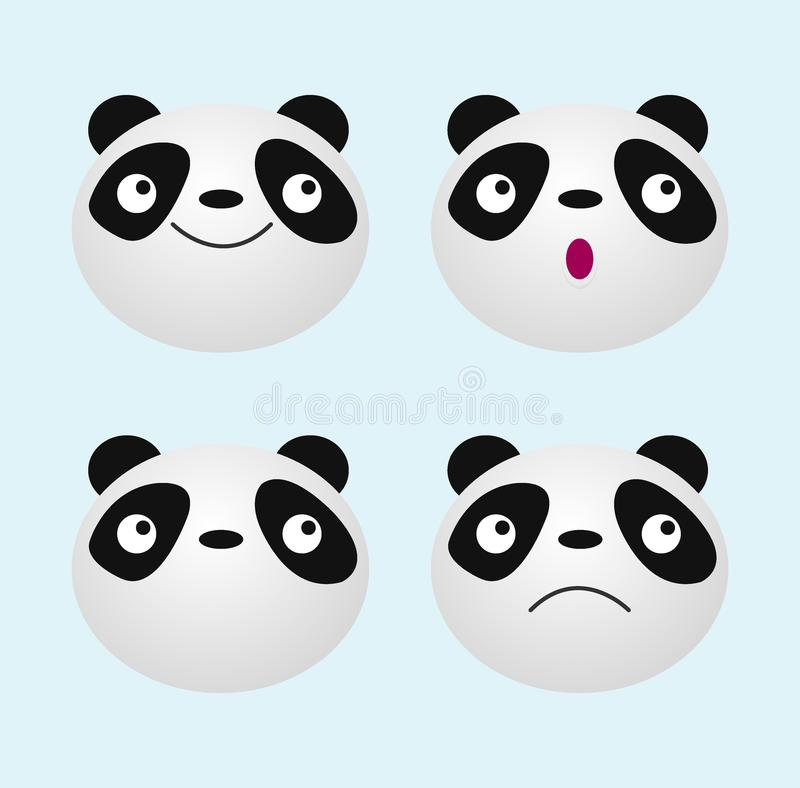 Pandagesicht, nette Tierpandabärn-Ikone Vektor-Illustration stock abbildung
