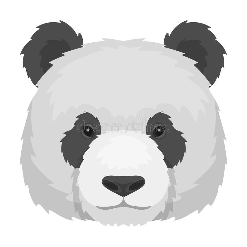 Pandaikone in der Karikaturart lokalisiert auf weißem Hintergrund Realistische Tiersymbolvorrat-Vektorillustration stock abbildung