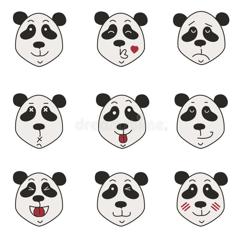 Pandaikonen eingestellt lokalisiert auf Weiß lizenzfreie stockfotografie