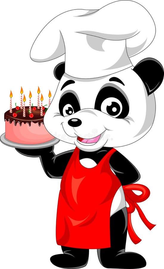 Pandakarikatur mit Geburtstagskuchen stock abbildung
