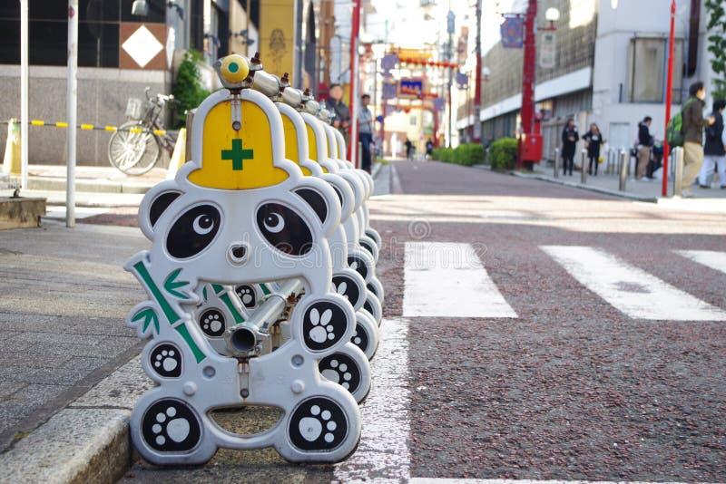 Pandakonstruktionstecken på den Yokohama kineskvarteret royaltyfri foto