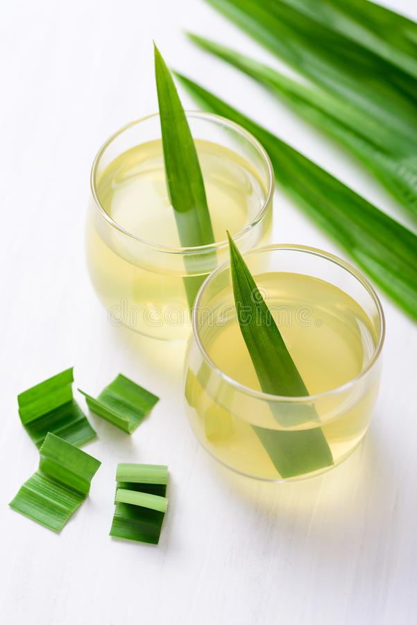 Pandan drink in the glass with pandan leaf stock photos