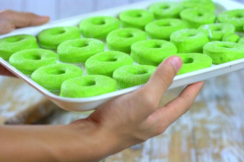 Pandan flavour green color. Pandan flavor donuts ready to bake. The green flavor and color extracted juices from pandan leaves stock photography