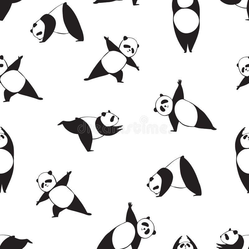 Pandan i olik joga poserar Svartvit sömlös vektormodell av pandan stock illustrationer