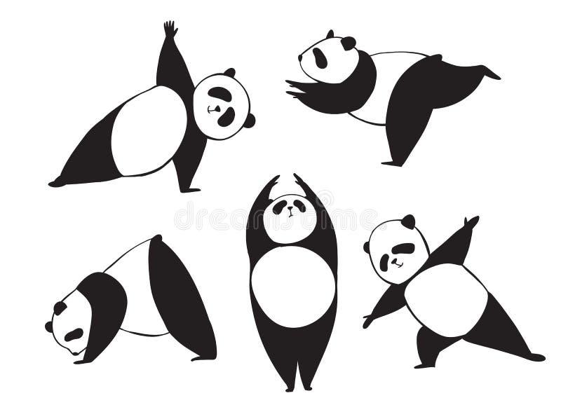 Pandan i olik joga poserar Svartvit vektorillustration Enkel björn som gör övningar royaltyfri illustrationer