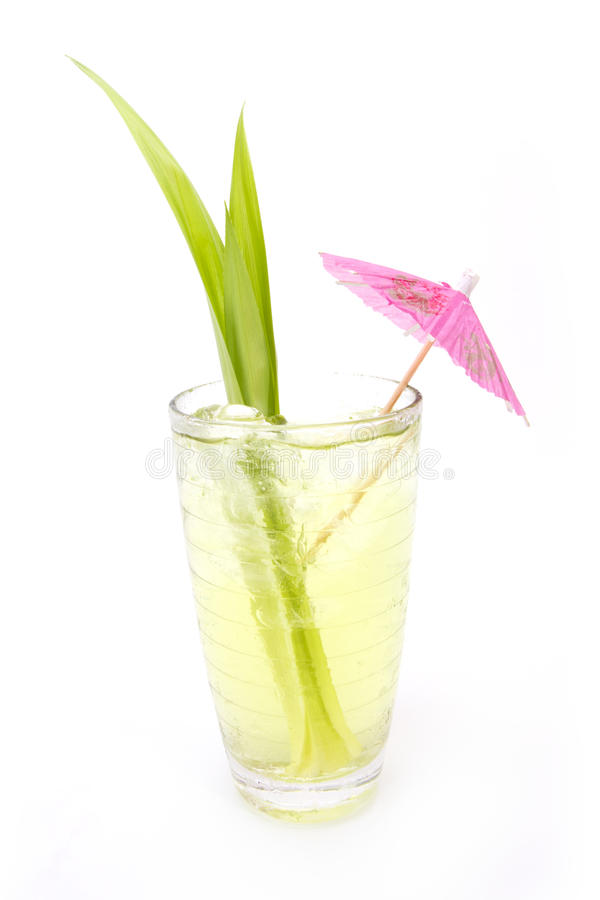 Pandan juice. In clear glass decorate fresh leaf royalty free stock photos