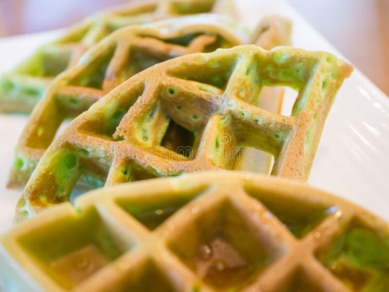 Pandan waffle, backgound concept. Pandan waffle dip with honey, backgound concept stock images