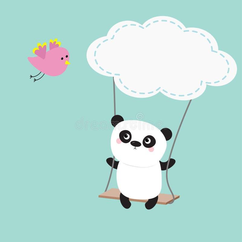 Pandarit op de schommeling Wolkenvorm Vliegende roze vogel Leuk vet beeldverhaalkarakter De inzameling van de Kawaiibaby De kaart royalty-vrije illustratie
